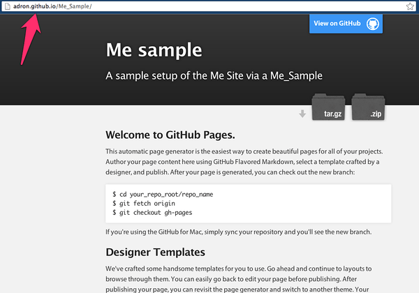 Github Pages default page with a default theme.