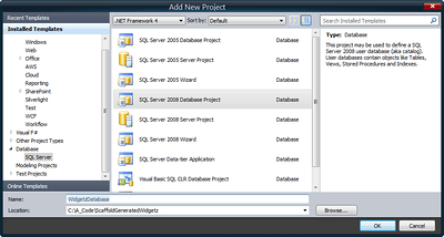 SQL Server 2008 Database Project in Visual Studio 2010 (Click for full size image)