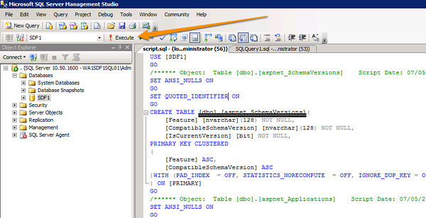 Execute the SQL Schema Create Script