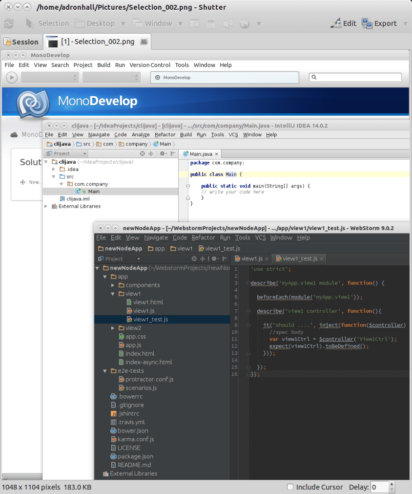 WebStorm, IntelliJ, and MonoDevelop IDE.