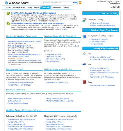 MSDN Windows Azure Download Section