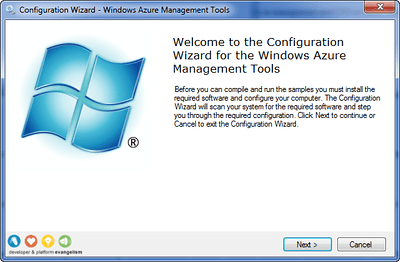 Configuration Wizard for the Windows Azure Management Tools