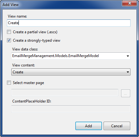Add New View to Project Dialog