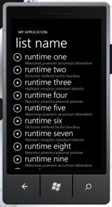 Windows Phone 7 Application List Screen