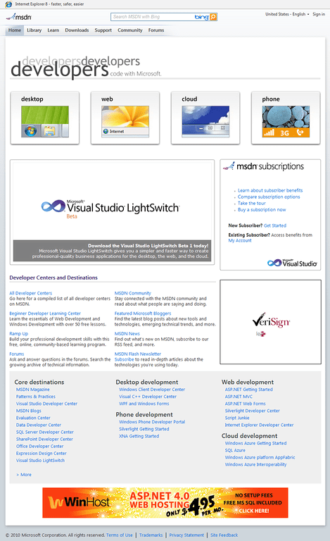 MSDN Site Home Page