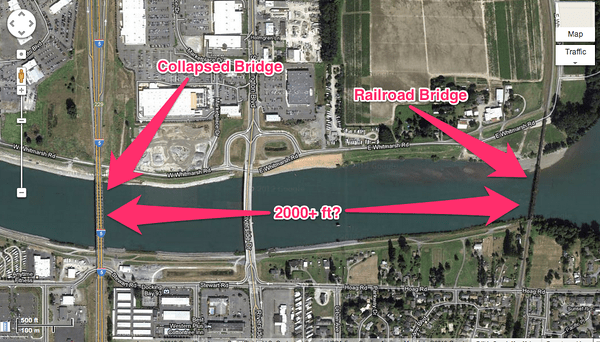 Distance between I-5 Collapsed Bridge and BNSF Railroad Bridge