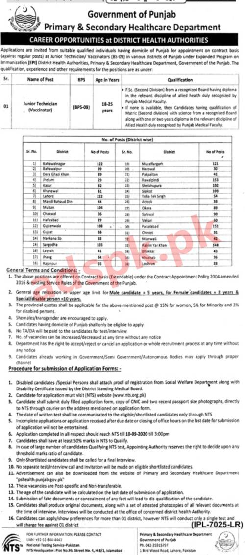 2700+ Jobs Primary & Secondary Healthcare Department Punjab Jobs 2020 NTS Written MCQs Test Syllabus Paper for Junior Technician (Vaccinator) Jobs Application Form Deadline 10-09-2020 Apply Online Now