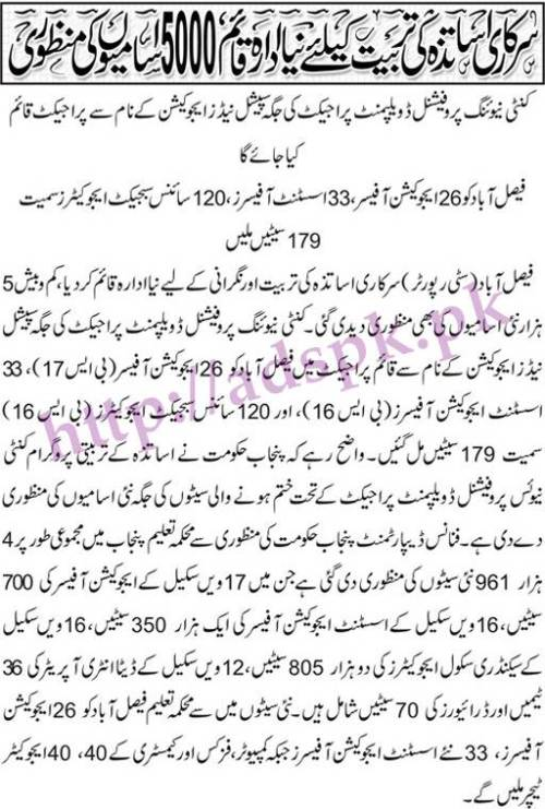 5000 Educators New Jobs in Punjab Education Department Govt. of Punjab 2017 Jobs for Education Officers (700) Assistant Education Officer (1350) SSE (2805) Data Entry Operators (36) Drivers (70) Jobs through SNE in lieu of Discontinuation of CPD Programme District Wise Male-Female Total Complete Jobs Details Must Read Now