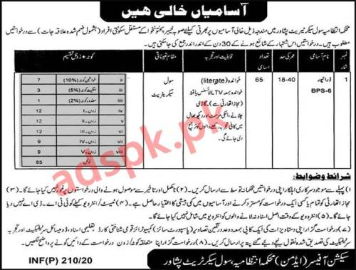 65 Jobs Civil Secretariat Peshawar Jobs 2020 for Driver Jobs Application Deadline 14-02-2020 Apply Now