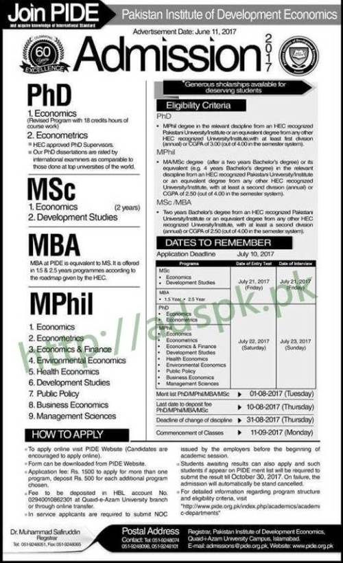 Admissions Open 2017 Join PIDE Pakistan Institute of Development Economics for M.Sc MBA M.Phil PhD Application Deadline 10-07-2017 Apply Now