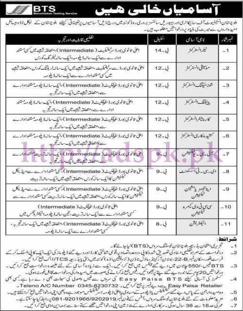 BTS New Jobs Balochistan Institute of Psychiatry & Behavioural Sciences Quetta Jobs 2017 Written Test MCQs Syllabus Paper for BPS-08 to BPS-14 Instructors (Tailor Musician Shoes Making Painting Carpenter) ICU Technician ECT Assistant Anesthesia Machine Technician CCTV Camera Technician Electrician Jobs Application Form Deadline 05-06-2017 Apply Now by Balochistan Testing Service