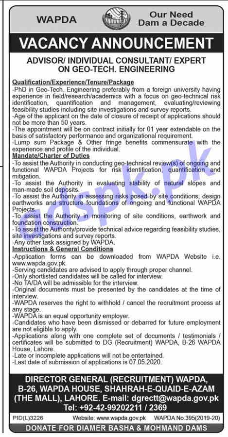 DG (Recruitment) WAPDA House Lahore Jobs 2020 for Advisor Individual Consultant Expert on GEO-Tech Engineer Jobs Application Form Deadline 07-05-2020 Apply Now