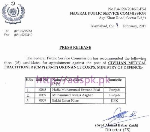 FPSC Candidates List Appointment against Post of Civilian Medical Practitioner (CMP) F.4-120/2016 in Ordnance Corps Ministry of Defence Results Updated on 09-02-2017 by FPSC Islamabad