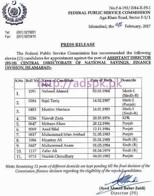 FPSC Candidates List Appointment against Posts of F.4-192/2014 Assistant Director in Central Directorate of National Savings Finance Division Islamabad Results Updated on 09-02-2017 by FPSC