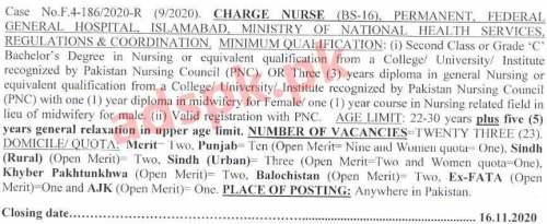 FPSC Ad No. 09/2020 Jobs Written Test MCQs Syllabus Paper for Meteorologist Civilian Labour Officer Charge Nurse Jobs Application Form Deadline 16-11-2020 Apply Now