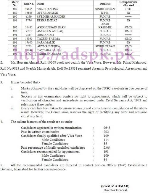 FPSC Competitive Examination (CSS) 2016 Final Result No.F.2/4/2017-CE Roll Numbers and Names of 199 Candidates who have finally qualified the CSS Competitive Examination 2016 FPSC CSS Final Results Updated on 10-05-2017 by Federal Public Service Commission Islamabad