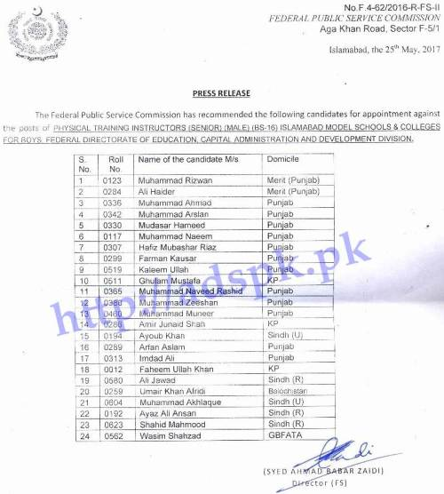 FPSC Final Results for Appointment Physical Training Instructors (Senior) (Male) F.4-62/2016 in Islamabad Model Schools and Colleges for Boys Federal Directorate of Education Results Updated on 26-05-2017 by FPSC