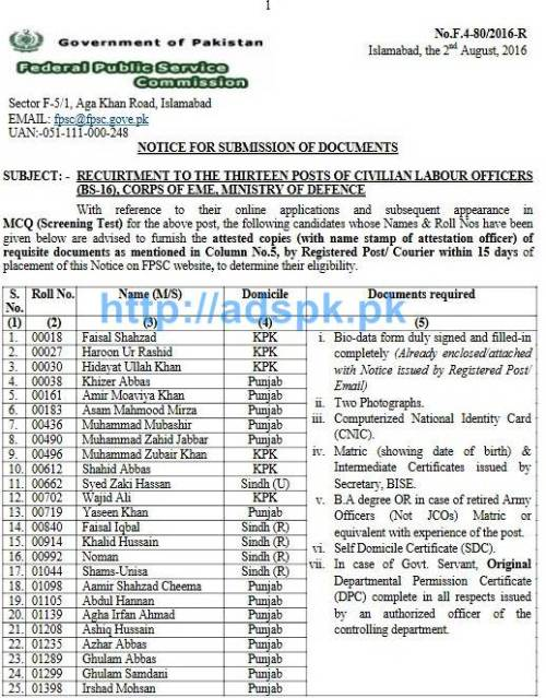 FPSC Jobs Civilian Labour Officers (F.4-80-2016) Candidate List for Submission of Documents Required within 15 days for Jobs in Corps of EME Ministry of Defence FPSC List Updated on 02-08-2016 by FPSC