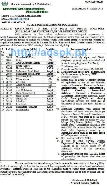 FPSC Jobs Deputy Directors (F.4-062016) Candidate List for Submission of Documents Required within 15 days for Jobs in Board of Investment Prime Minister's Office FPSC List Updated on 03-08-2016 by FPSC Islamabad Pakistan