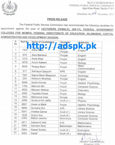 FPSC Latest Jobs Appointment against Jobs of Lecturers (Female) F.4-127/2014 in Federal Govt. Colleges for Women Federal Directorate of Education Islamabad Capital Administration and Development Division Result Updated on 27-11-2015 by FPSC Pakistan
