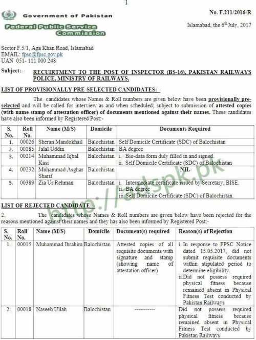 FPSC Provisionally Pre-selected List Results Inspector F.4-211/2016 in Pakistan Railways Police Ministry of Railways FPSC Results Updated on 07-07-2017 by Federal Public Service Commission Islamabad