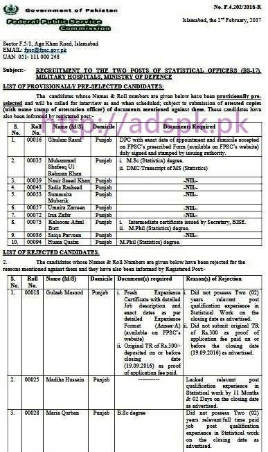 FPSC Provisionally Pre-selected List Statistical Officer F.4-202/2016 in Military Hospitals Ministry of Defence Results Updated on 02-02-2017 by Federal Public Service Commission Islamabad