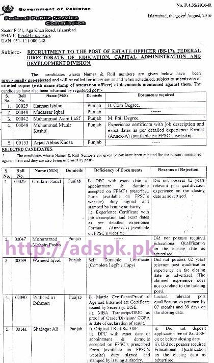 FPSC Provisionally Pre-selected Result List Jobs for Estate Officer F.4-35-2016 in Federal Directorate of Education Capital Administration and Development Division Results Updated on 24-08-2016 by FPSC
