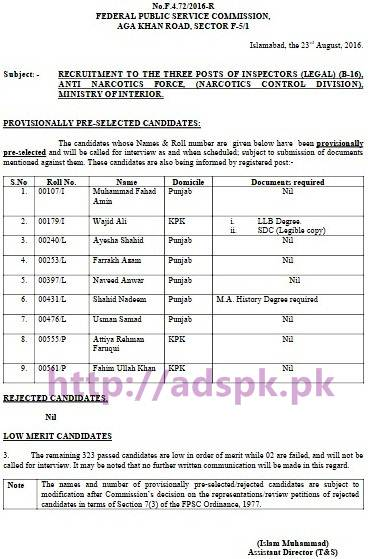 FPSC Provisionally Pre-selected Result List Jobs for Inspector Legal F.4-72/2016 in Anti Narcotics Force (Narcotics Control Division) Ministry of Interior Results Updated on 24-08-2016 by Federal Public Service Commission Islamabad