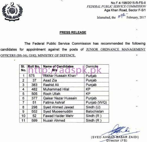 FPSC Recommended Candidates List Appointment against Posts Junior Ordinance Management Officer F.4-198/2015 in GHQ Ministry of Defence Results Updated on 10-02-2017 by Federal Public Service Commission Islamabad