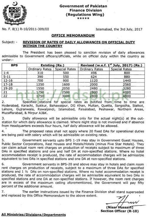 Finance Division Notification Revision of Rates of Daily Allowances on Official Duty within the country Federal Government Islamabad Dated 03-07-2017 by Regulations Wing
