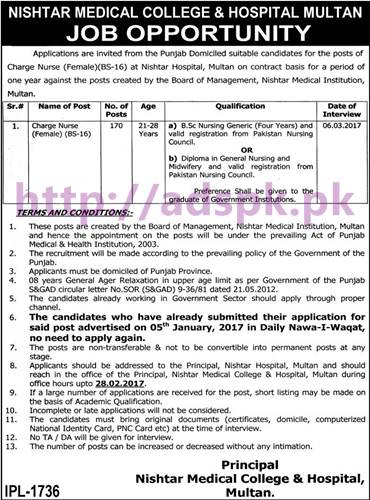 Fresh Career New Jobs Nishtar Medical College and Hospital Multan Jobs for Charge Nurse Female (BS-16) Posts 170 Application Deadline 28-02-2017 Interview Dated 06-03-2017 Apply Now