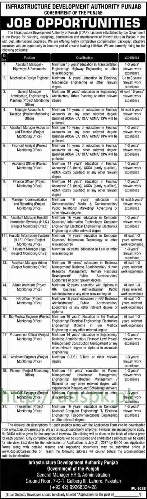 IDAP Jobs Infrastructure Development Authority Punjab Govt. Jobs 2017 for Assistant Manager Highways & Pavements Mechanical Design Engineer General Manager Accounts Taxation Manager Assistant Manager Accounts Officer and Other Staff Jobs Application Deadline 31-07-2017 Apply Now