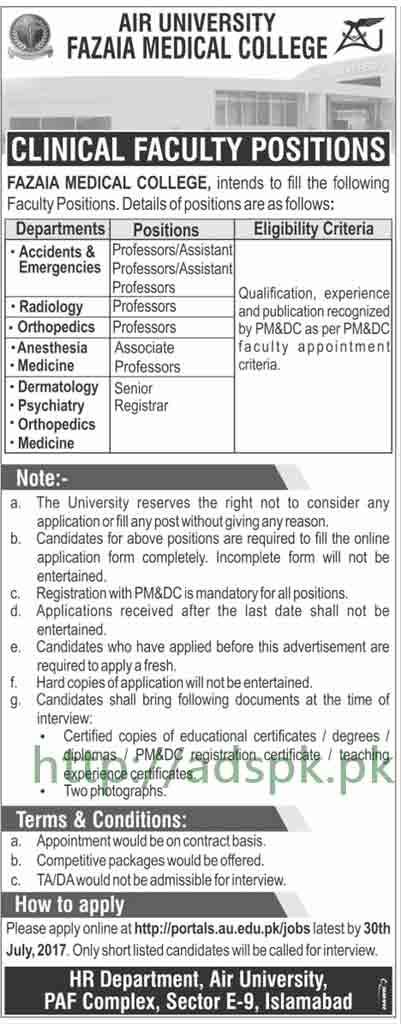 Jobs Air University Fazaia Medical College Islamabad Jobs 2017 Professors Senior Registrar Jobs Application Form Deadline 30-07-2017 Apply Online Now