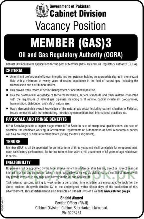 Jobs Cabinet Division Oil and Gas Regulatory Authority OGRA Islamabad Jobs 2017 Member GAS Jobs Application Deadline 14-08-2017 Apply Now