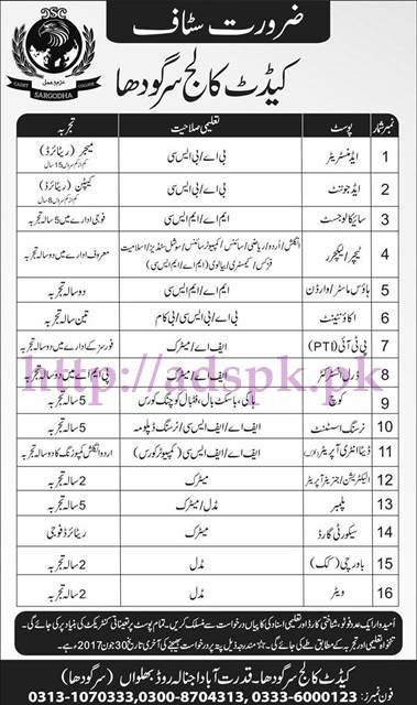 Jobs Cadet College Sargodha Jobs 2017 for Administrator Adjoint Psychologist Teachers Lecturers House Master Warden Accountant PTI Nursing Assistant Data Entry Operator Jobs Application Deadline 30-06-2017 Apply Now