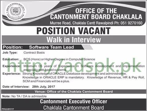 Jobs Cantonment Board Chaklala Rawalpindi Jobs 2017 for Software Team Lead Walk in Interview Dated 28-07-2017 Apply Now