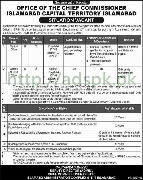 Jobs Chief Commissioner Office Islamabad Capital Territory ICT Islamabad Jobs 2017 Medical Officer Women Medical Officer Jobs Application Deadline 14-08-2017 Apply Now