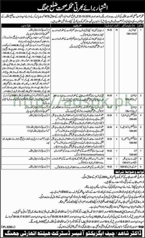 Jobs District Health Authority Jhang Jobs 2017 Candidates Passed after NTS Test for Computer Operator Data Entry Operators Junior Technicians Jobs Application Deadline 31-07-2017 Apply Now
