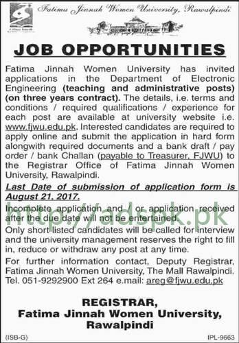 Jobs Fatima Jinnah Women University Rawalpindi Jobs 2017 Department of Electronic Engineering Teaching and Administrative Jobs Application Deadline 21-08-2017 Apply Now