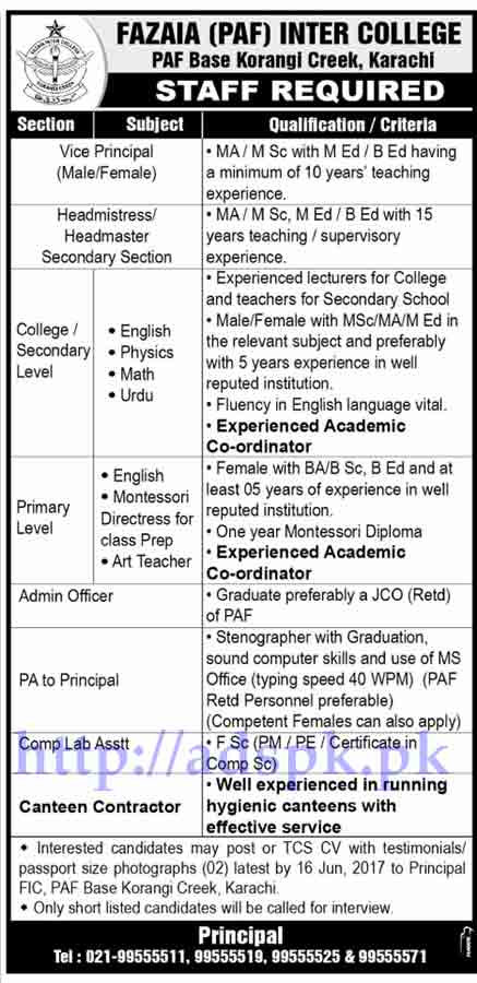 Jobs Fazaia Inter College Karachi Jobs 2017 for Vice Principal Headmaster Headmistress Admin Officer Jobs Application Deadline 16-06-2017 Apply Now