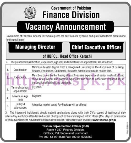 Jobs Finance Division Pakistan Govt. HBFCL Head Office Karachi Jobs 2017 for Managing Director and Chief Executive Officer Jobs Application Deadline 05-06-2017 Apply Now