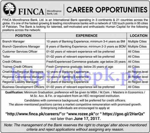 Jobs Finca Microfinance Bank Ltd Pakistan Jobs 2017 for Branch Manager BOM CSO Teller Credit Officer Trainee Credit Officer Jobs Application Deadline 17-06-2017 Apply Online Now