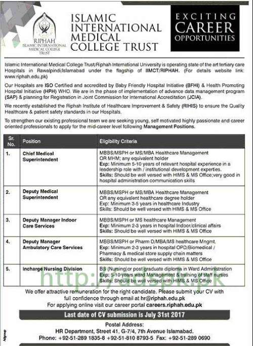 Jobs Islamic International Medical College Trust Islamabad Jobs 2017 for Chief MS Deputy MS Deputy Managers Incharge Nursing Division Jobs Application Deadline 31-07-2017 Apply Now