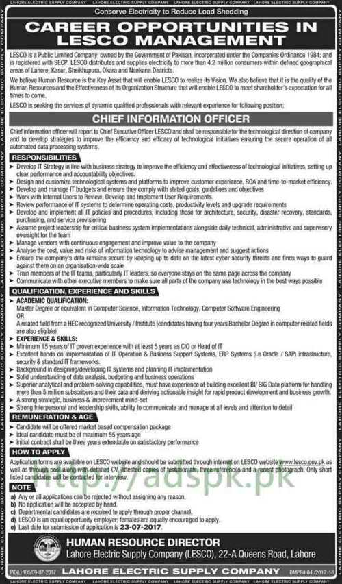 Jobs Lahore Electric Supply Company LESCO Lahore Jobs 2017 for Chief Law Officer Chief Information Officer Jobs Application Form Deadline 23-07-2017 Apply Now