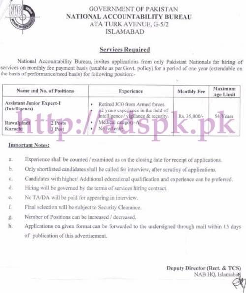 Jobs NAB Islamabad Jobs 2017 for Assistant Junior Expert Intelligence (Rawalpindi Karachi Posts) Jobs Application Form Deadline 06-06-2017 Apply Now
