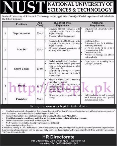 Jobs NUST Islamabad Jobs 2017 for Superintendent PA to Director Sports Coach Driver Caretaker Jobs Application Form Deadline 28-05-2017 Apply Now