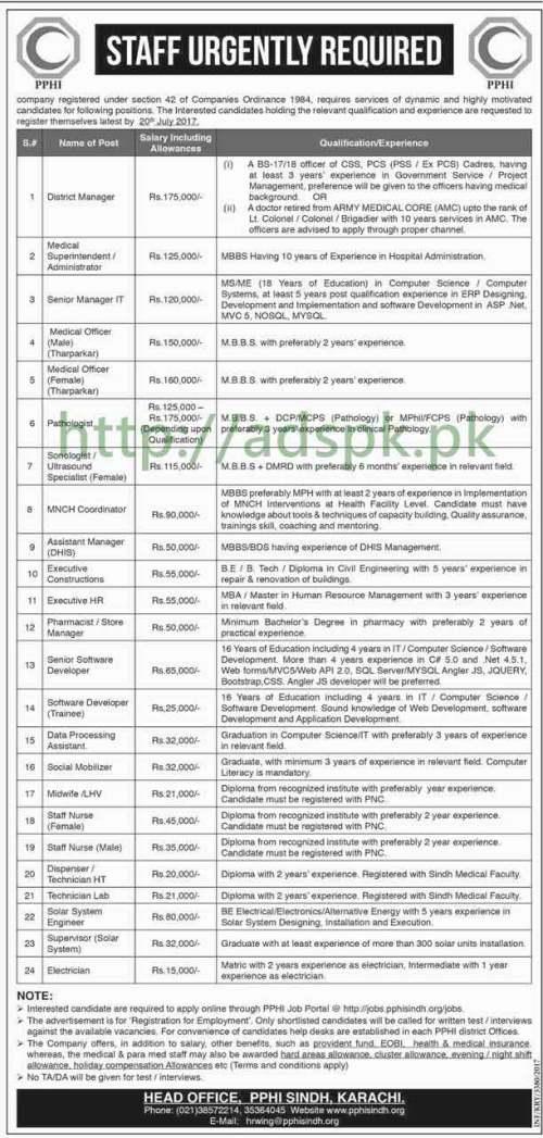 Jobs PPHI Sindh Karachi Jobs 2017 for District Manager Medical Superintendent Senior Manager I.T Medical Officer Jobs Application Deadline 20-07-2017 Apply Now