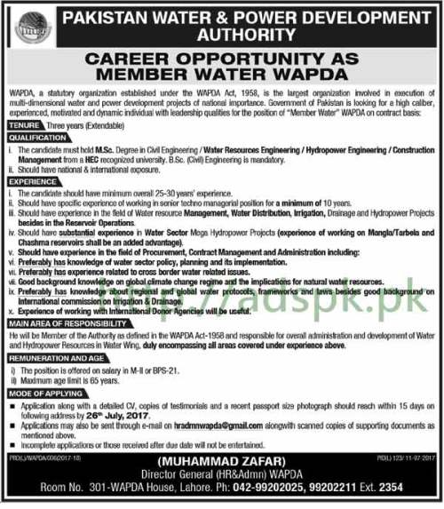 Jobs Pakistan Water & Power Development Authority WAPDA Lahore Jobs 2017 for Member Water WAPDA Jobs Application Deadline 26-07-2017 Apply Now