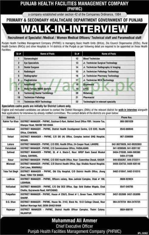 Jobs Primary & Secondary Healthcare Department Punjab Govt. Jobs 2017 Walk in Interview for Specialist Medical Officer (Male-Female) Technical Staff Paramedical Staff Apply Now