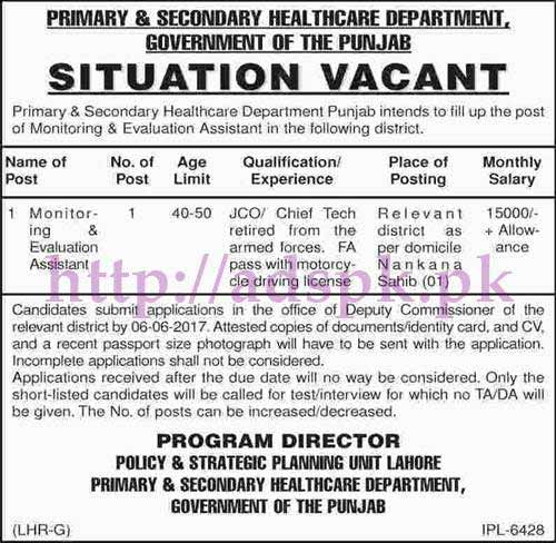 Jobs Primary and Secondary Healthcare Department Nankana Sahib Jobs for Monitoring & Evaluation Assistant Jobs Application Deadline 06-06-2017 Apply Now
